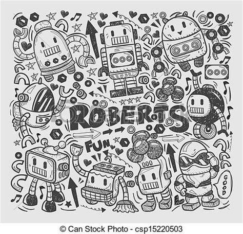 how to draw doodle in illustrator vector clipart of doodle robot element illustrator line