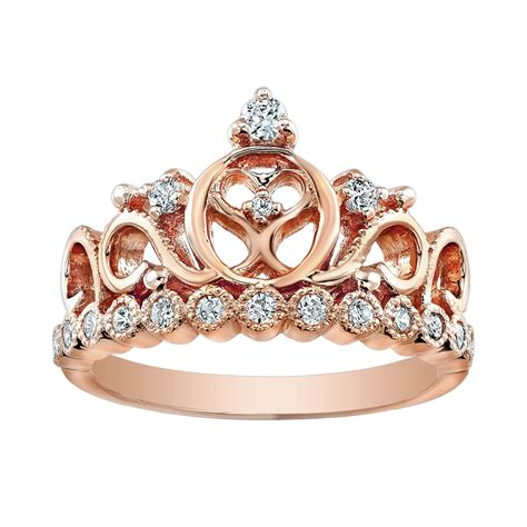 14k gold princess crown cz ring gvdbr5456rg 14k