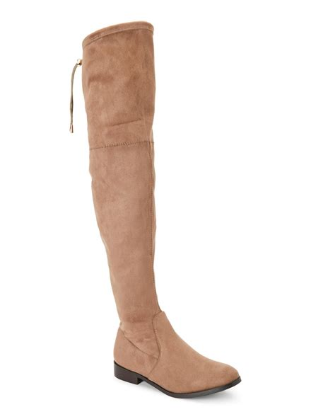 wanted taupe pheasant the knee flat boots in brown lyst