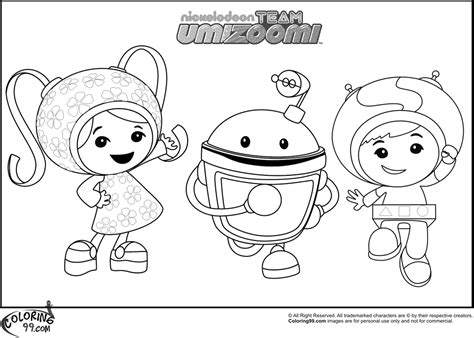 team umizoomi coloring pages team colors