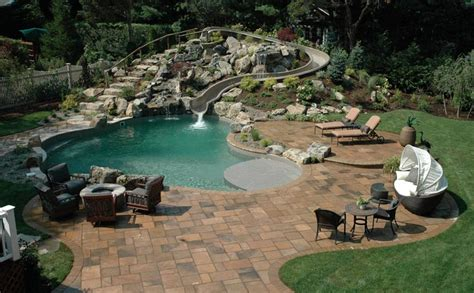 awesome backyard pools 20 awesome swimming pools with water slides homes of the
