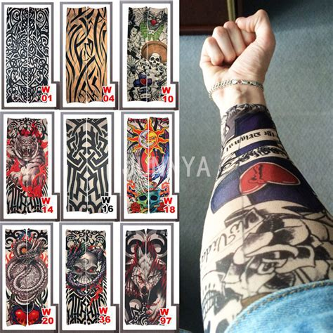 one piece temporary tattoo 1 piece fake sleeve tattoo elastic arm cover tattoo sleeve