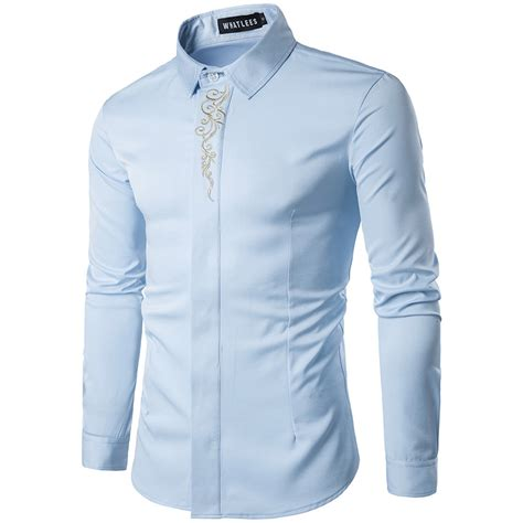 Branded Baju H Button Blouse embroidery shirt 2017 brand new sleeve mens dress shirts casual slim fit button