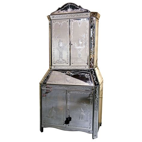 Mirrored Bar Cabinet with Vintage Etched And Eglomise Mirrored Bar Cabinet At 1stdibs