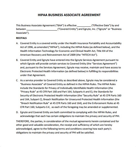 Hipaa Policy Templates For Business Associates | sle business associates agreement 7 free documents