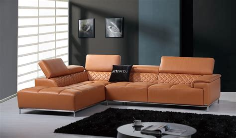 modern leather sectional divani casa citadel modern leather sectional sofa