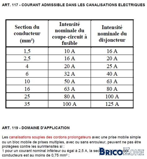 section 80a sections des cables et disjoncteurs