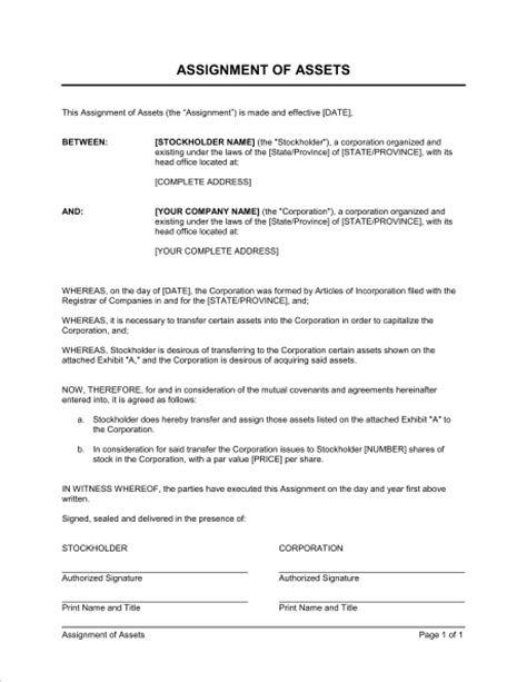 Transfer Asset Letter Assignment Of Assets Template Sle Form Biztree