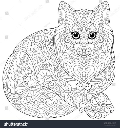 balance anti stress coloring zentangle balance and stress relief coloring book for adults stylized cat kitten freehand stock vector
