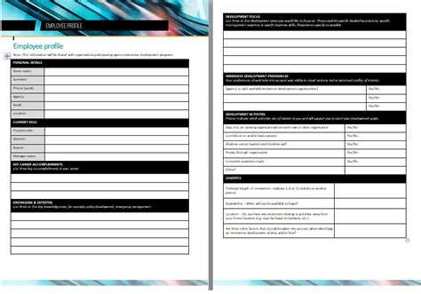 employee profile template professional employee profile template excel and word