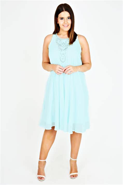 swing dress code mint chiffon sleeveless swing dress with silver