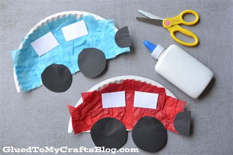 Car Paper Craft - paper plate cars kid craft
