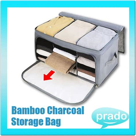 Storage Bag Bamboo Model Tidur bamboo charcoal clothes storage bag organizer end 4