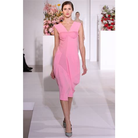 pink drape dress lyst jil sander structured dress with drape detail in pink