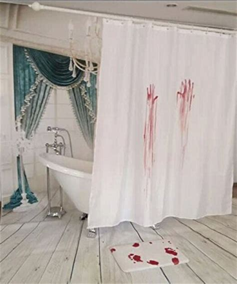 bloody shower curtain and bath mat 2 pcs pack blood bath suit decoration bloody bath shower curtain blood bath mat rug jpg