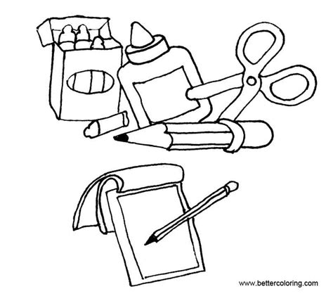 coloring supplies school supplies coloring pages free printable coloring pages