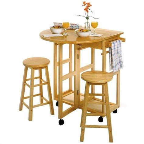 mobile breakfast bar table set with 2 stools in