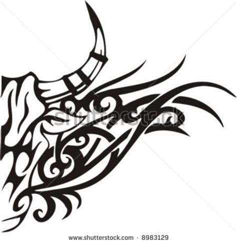 monochrome drawing bull tribal patterns on stock vector bull 20clipart clipart panda free clipart images