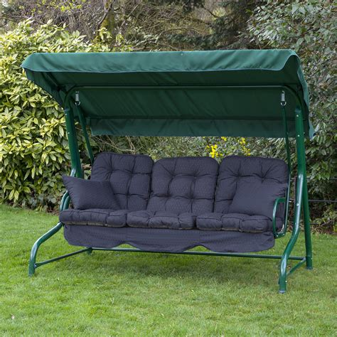 3 seat swing replacement cushions alfresia luxury garden swing seat cushions 3 seater ebay