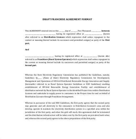 franchise agreement template 15 free word pdf