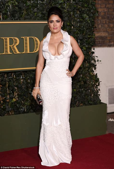 Salma Top salma hayek covers up with high necked
