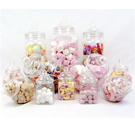 12 vintage retro plastic jars candy buffet sweet shop