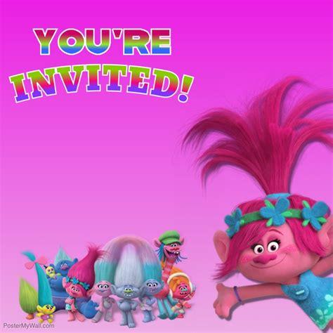 trolls template trolls invitation template postermywall