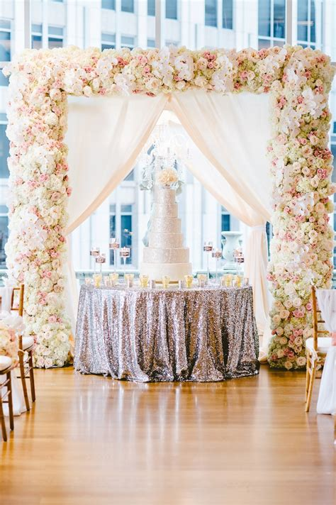 Wedding Arch Vs Chuppah by Cakes Desserts Photos Silver Cake On Sequin Table At