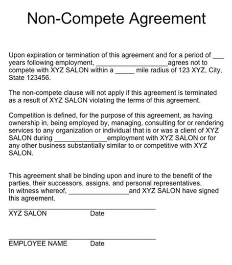 free non compete agreement template related keywords suggestions for no competition clause