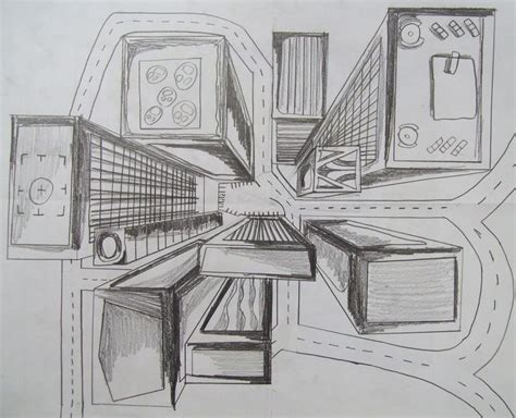 Drawing 7th Class by Multi Point Perspective 7th Grade Bird S Eye View One