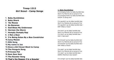 baby shark original lyrics troop 1212 girl scout c songs baby bumblebee baby