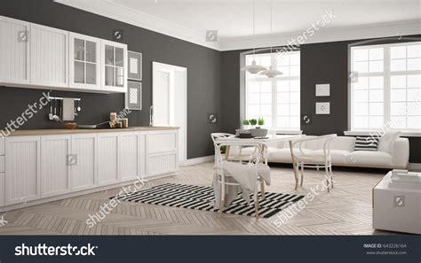 modern scandinavian apartment interior design with gray minimalist modern kitchen dining table living stock