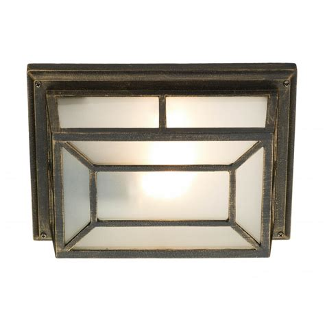 Outdoor Porch Lights Uk Rustic Black Gold Garden Wall Or Porch Light With Frosted Glass