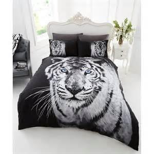 Tiger Bed Set Photographic Animal Duvet Set White Tiger Bedding Bed Set