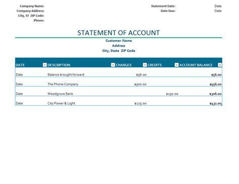 template statement of account billing statement of account office templates