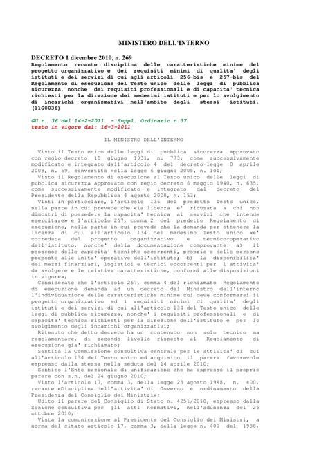 ministero dell interno login decreto ministro interno 1 12 2010 n 269