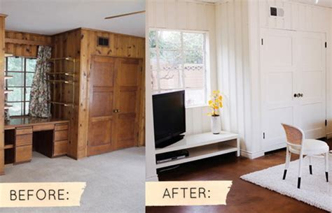 painted wood paneling before and after before after sarah s real world makeover design sponge