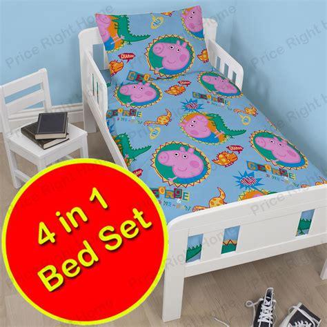 george pig bedroom accessories peppa pig george roar 4 in 1 junior cot bed bedding bundle