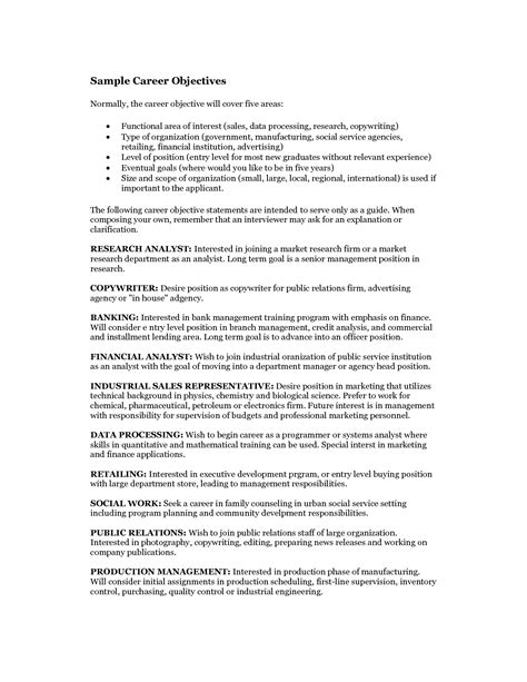 Career Goals Exles For Resume by Best Photos Of Sle Career Objective Goal Career Objective Exles Sle Career Objective