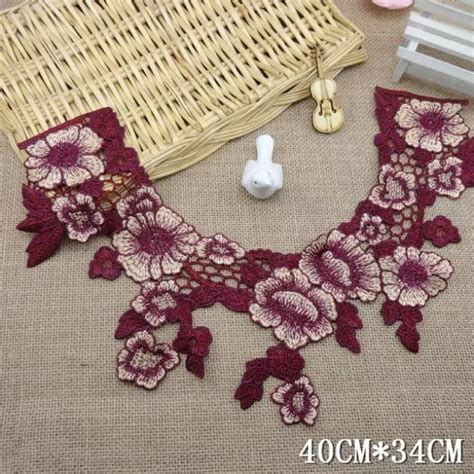 Patchwork Accessories - 5pc 38x29cm embroidery lace collar applique neckline lace