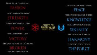 star wars jedi code sith code