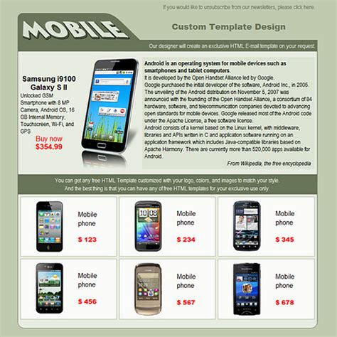 Mobile Shop Free Html E Mail Templates Mobile Email Template