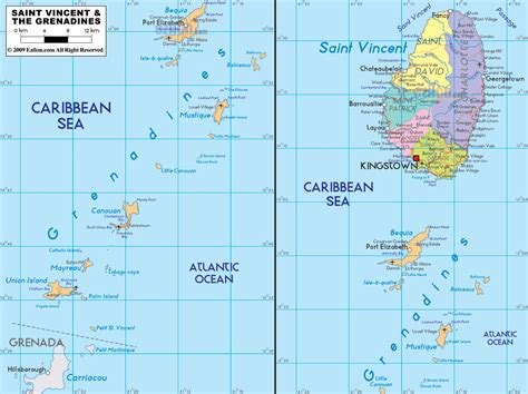 map st vincent and the grenadines st vincent und die grenadinen geographischen karte