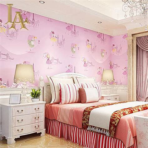 wallpaper for girls bedroom aliexpress com buy yellow purple blue pink cartoon girls bedroom wallpaper for walls decor
