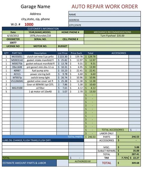 auto estimate template auto repair estimate template