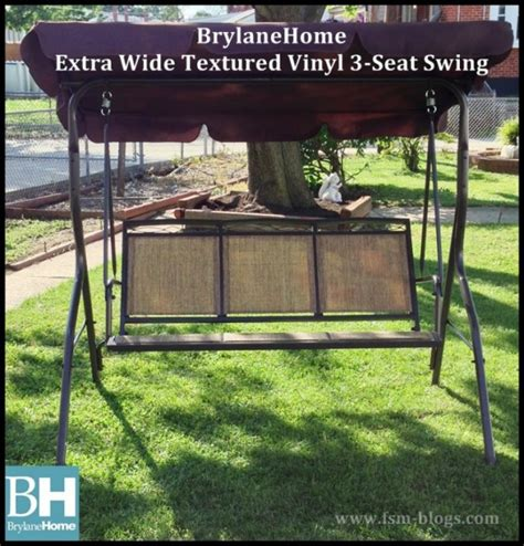 extra wide swing seat brylanehome extra wide textured vinyl 3 seat swing