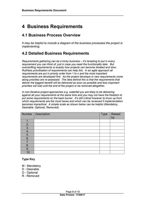 templates for business requirement documents 40 simple business requirements document templates