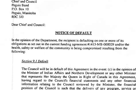 Agreement Default Letter Notice Of Default Letter Peguis Nation