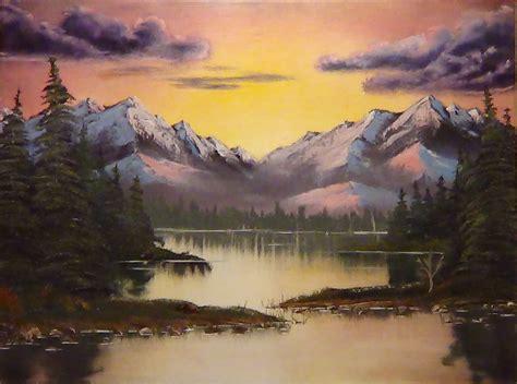 bob ross painting desert mountain sunset aglow