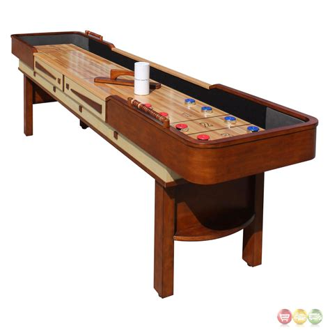 a shuffleboard table merlot 9 ft shuffleboard table in walnut w